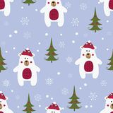 Christmas seamless pattern with polar bears stock illustration