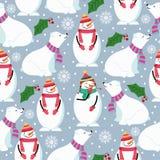 Christmas seamless pattern with polar bears, snowman and mistletoe royalty free illustration