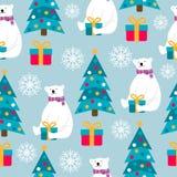 Christmas seamless pattern with polar bears, Christmas trees and stock illustration