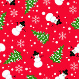 Christmas seamless pattern on a red background. Snowman on a red background. Seamless pattern royalty free illustration