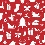 Christmas seamless pattern on a red background. Vector illustration Stock Photo