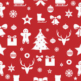 Christmas seamless pattern on a red background. Vector illustration Royalty Free Stock Photo