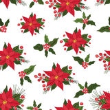 Christmas seamless pattern. Red poinsettia,holly, Stock Image
