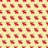 Christmas seamless pattern with red reindeer Stock Photos