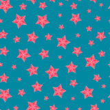Christmas seamless pattern with red stars Stock Photos