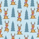 Christmas seamless pattern with reindeers and Christmas trees vector illustration