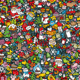 Christmas seamless pattern. (repeated) with mini doodle drawings (icons). Illustration is in eps8 vector mode Royalty Free Stock Photos