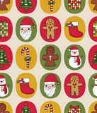 Christmas seamless pattern. With retro colors Stock Images