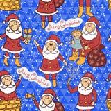 Christmas seamless pattern with Santa Claus Stock Photos