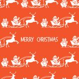 Christmas 2019 seamless pattern Santa Claus, gifts. Christmas 2019 seamless pattern. Vector illustration Santa Claus with gifts in sleighs with reindeers. Design vector illustration