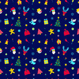 Christmas Seamless Pattern with Santa Claus. Merry Christmas and Happy New Year Seamless Pattern with Santa and Christmas Elements. Winter Holidays Wrapping Royalty Free Stock Images
