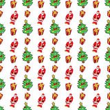 Christmas Seamless Pattern with Santa Claus. Merry Christmas and Happy New Year Seamless Pattern with Christmas Gifts and Santa Claus. Winter Holidays Wrapping Stock Image