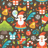 Christmas seamless pattern with Santa Claus Royalty Free Stock Image
