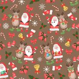 Christmas seamless pattern with Santa, deers and christmas stuff/ New Year holiday pattern vector illustration