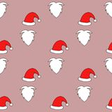 Christmas Seamless pattern of Santa hats, moustache and beards. Stock Photo