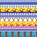 Christmas seamless pattern with Santa and reindeer Stock Photos