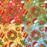 Christmas seamless pattern set Stock Images