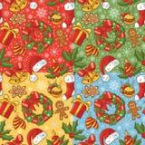 Christmas seamless pattern set vector illustration