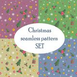 Christmas seamless pattern set with flat design Stock Photos