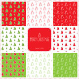 Christmas seamless pattern set. Set of 8 Christmas-tree seamless patterns Stock Photo