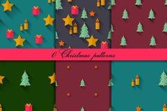 Christmas seamless pattern set Stock Photo