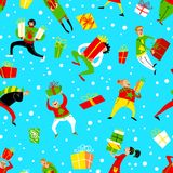Christmas seamless pattern with shopping people. Winter backgrou Stock Photography