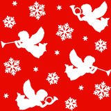 Christmas seamless pattern with silhouettes of angels, trumpets, snowflakes and stars,  Royalty Free Stock Images