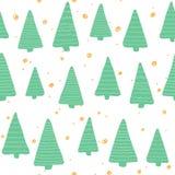 Christmas seamless pattern. Simple retro pattern of christmas tree Stock Image