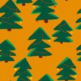 Christmas seamless pattern. Simple retro pattern of christmas tree Stock Photos