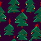 Christmas seamless pattern. Simple retro pattern of christmas tree Stock Photography