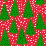 Christmas seamless pattern. Simple retro pattern of christmas tree. Arrow tree. Snow. Snowflakes. Polka dot Stock Photography