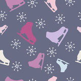 Christmas seamless pattern. With skates. Vector illustration Stock Photo