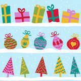 Christmas seamless pattern with snow. Christmas winter seamless pattern, presents, balls and trees on snow Stock Photos