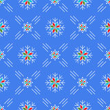 Christmas seamless pattern snowflakes Blue background line art style Stock Photo