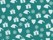 Christmas seamless pattern with snowflakes, gift box and cap of Santa Claus. Vector illustration Royalty Free Stock Image