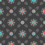 Christmas seamless pattern snowflakes Gray background line art style Royalty Free Stock Image