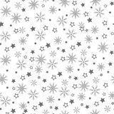 Christmas seamless pattern of snowflakes, gray on white background. royalty free illustration