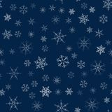 Christmas seamless pattern from snowflakes. New year festive texture for design postcards, invitations, greetings, and clothing. Vector illustration Stock Photography