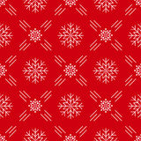 Christmas seamless pattern snowflakes Red background line art style Stock Photos