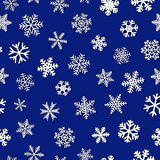 Seamless pattern of snowflakes with shadows. Christmas seamless pattern of snowflakes with shadows, white on blue background Royalty Free Stock Photo