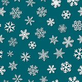 Seamless pattern of snowflakes with shadows. Christmas seamless pattern of snowflakes with shadows, white on blue background Royalty Free Stock Photos