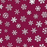 Seamless pattern of snowflakes with shadows. Christmas seamless pattern of snowflakes with shadows, white on crimson background Stock Images