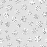 Seamless pattern of snowflakes with shadows. Christmas seamless pattern of snowflakes with shadows, white on gray background Stock Image