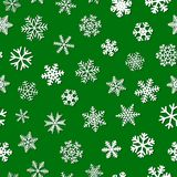 Seamless pattern of snowflakes with shadows. Christmas seamless pattern of snowflakes with shadows, white on green background Royalty Free Stock Photography