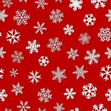 Seamless pattern of snowflakes with shadows. Christmas seamless pattern of snowflakes with shadows, white on red background Royalty Free Stock Photography