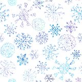 Christmas seamless pattern with snowflakes on white background royalty free illustration
