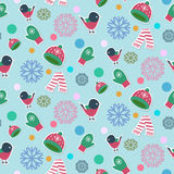 Christmas seamless pattern. With snowflakes, winter hats, scarfs, birds and gloves on a sweet blue background. Fully editable vector illustration. Perfect for Royalty Free Stock Images