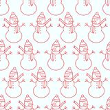 Christmas seamless pattern with snowman Stock Image