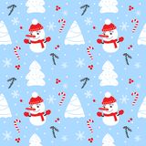 Christmas seamless pattern with snowman, fir trees, snowflakes and candies. Merry Christmas and Happy New Year Stock Images