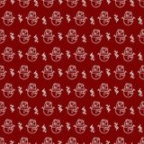 Christmas seamless pattern with snowman line style on red background for poster. Christmas sale, product promotion, greeting cards, web and marketing material Stock Photography